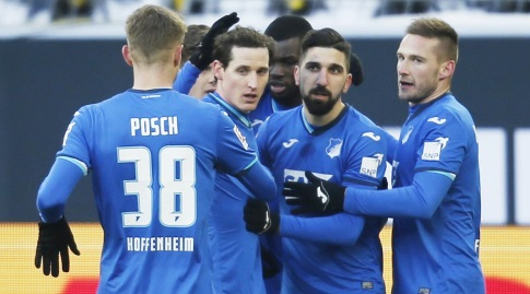 Hoffenheim players celebrate with Mons Dabour (Reuters)